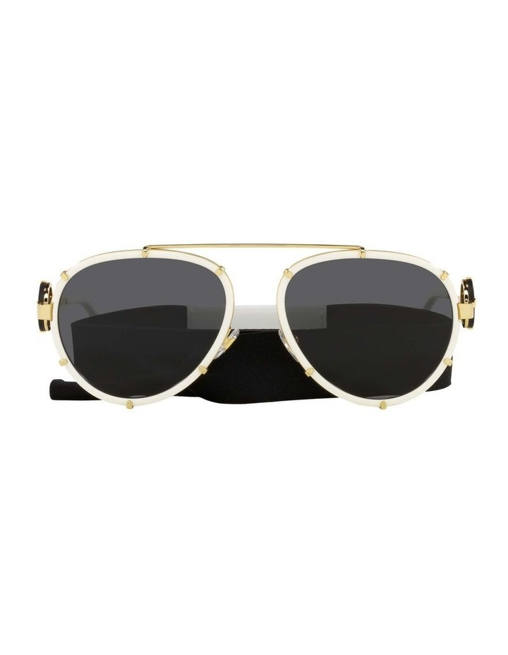 White/Gold Aviator Sunglasses With Strap 0VE2232 1535921002 image 2