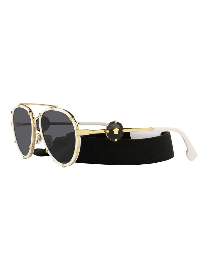 White/Gold Aviator Sunglasses With Strap 0VE2232 1535921002 image 3