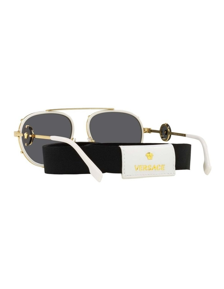White/Gold Aviator Sunglasses With Strap 0VE2232 1535921002 image 6