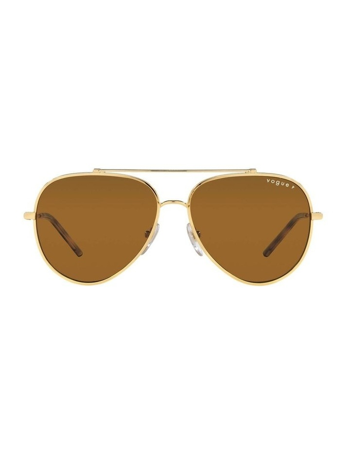 X VOGUE Polarised Gold Aviator Sunglasses 0VO4212SMBB 1536498001 image 2