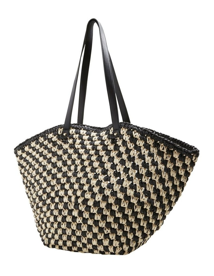 Two Tone Straw Tote image 3