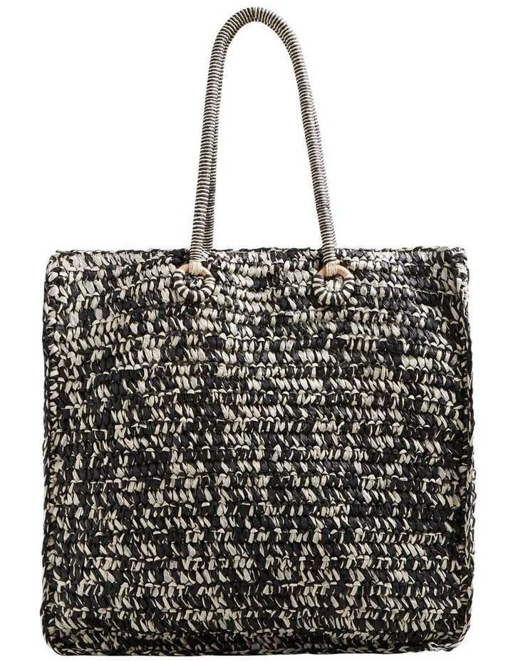 Two Tone Straw Tote image 1