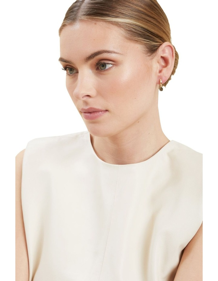Drop Disc Huggie Earrings image 2