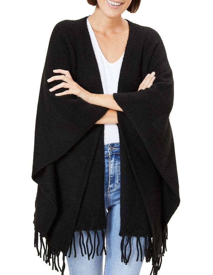 Fringed Black Wool Poncho image 1