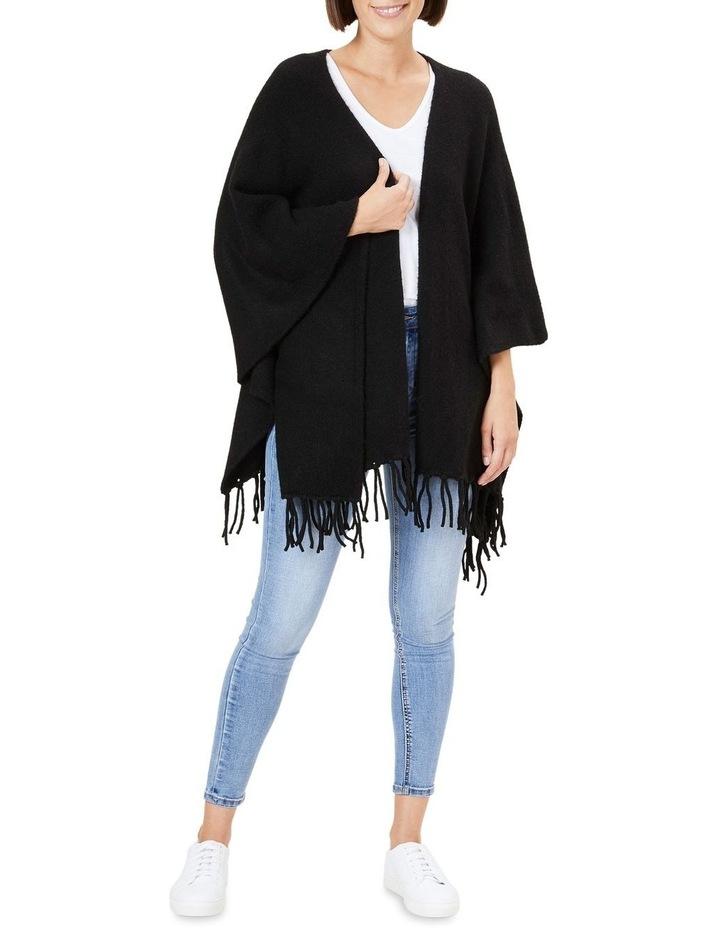 Fringed Black Wool Poncho image 2