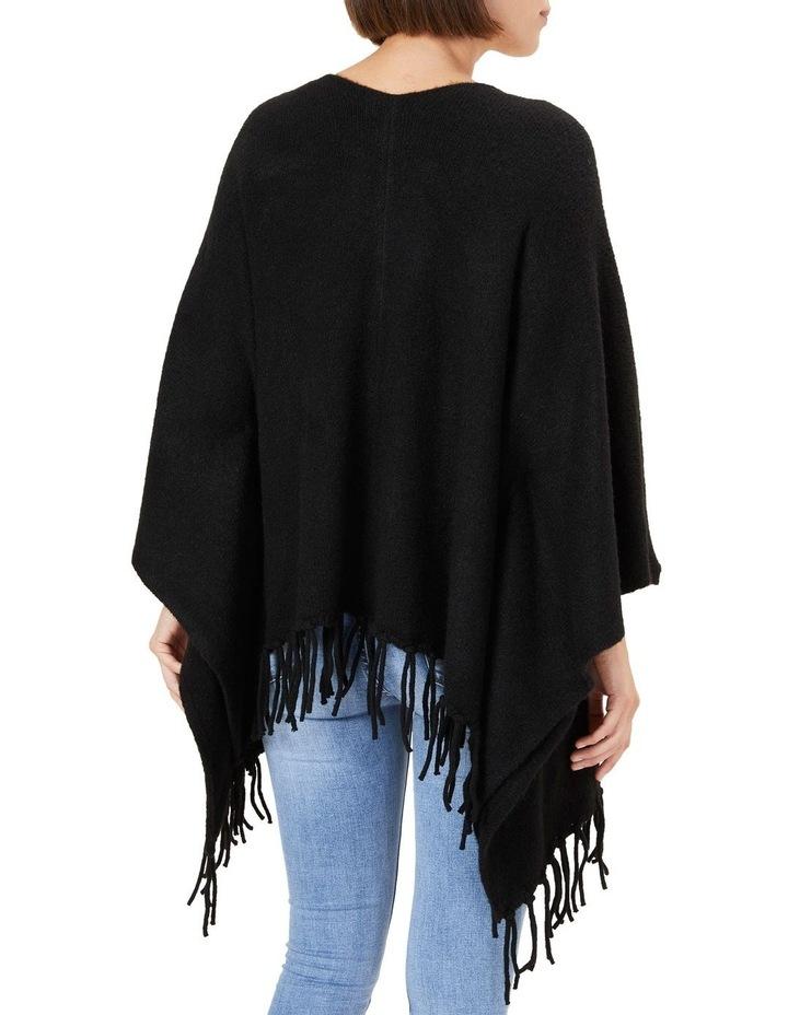 Fringed Black Wool Poncho image 3