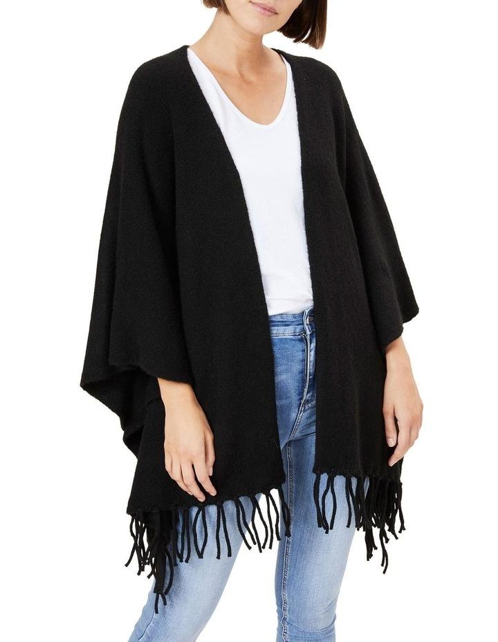 Fringed Black Wool Poncho image 4