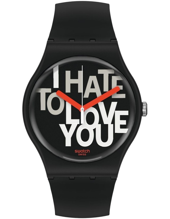 Hate 2 Love Black Plastic Quartz Watch image 1