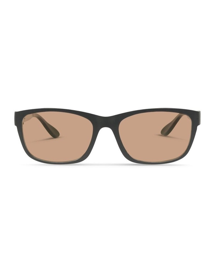 Recycled Black UV Protected with Brown Tint Rectangle Sunglasses image 1