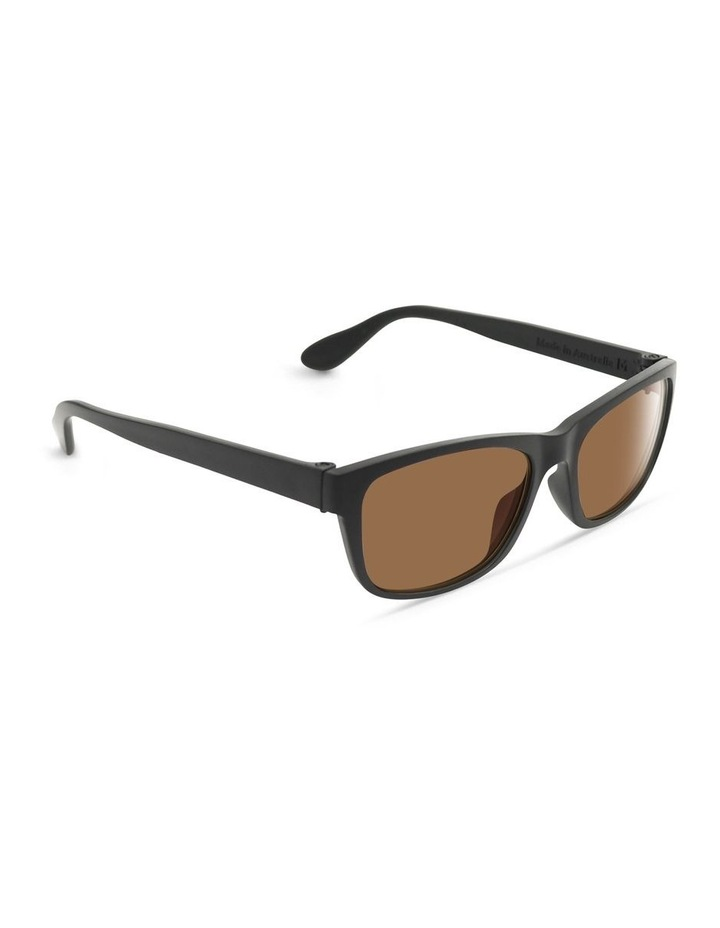 Recycled Black UV Protected with Brown Tint Rectangle Sunglasses image 2