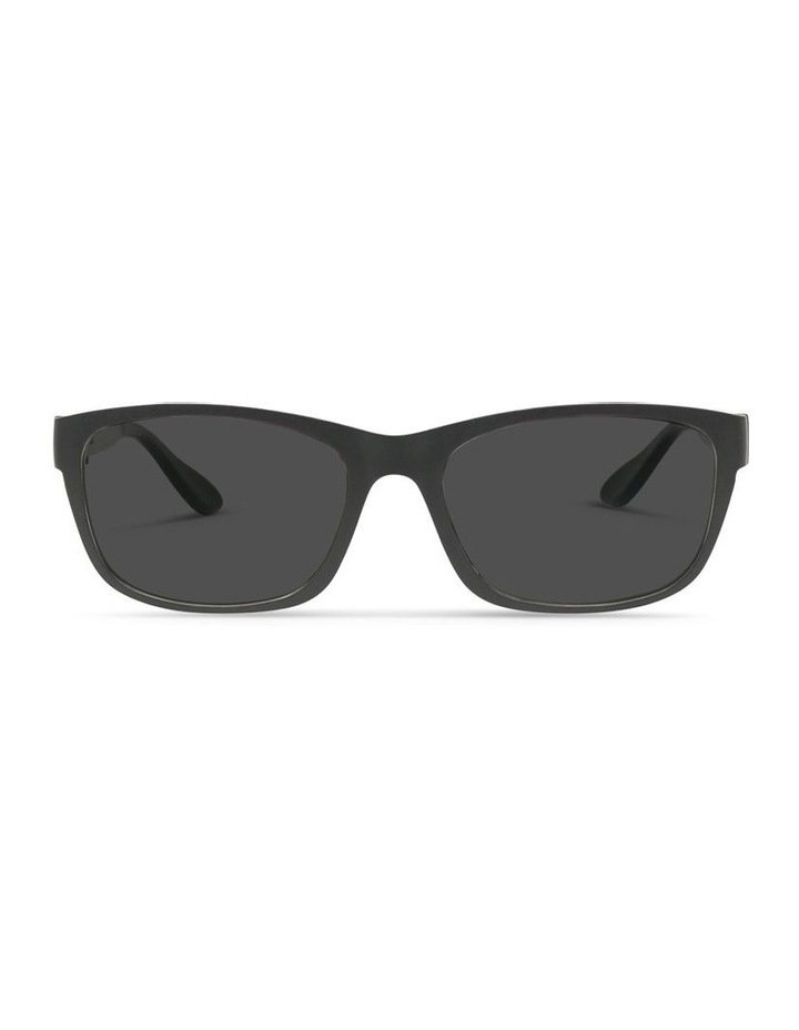 Recycled Black UV Protected Polarised with Grey Tint Rectangle Sunglasses image 1