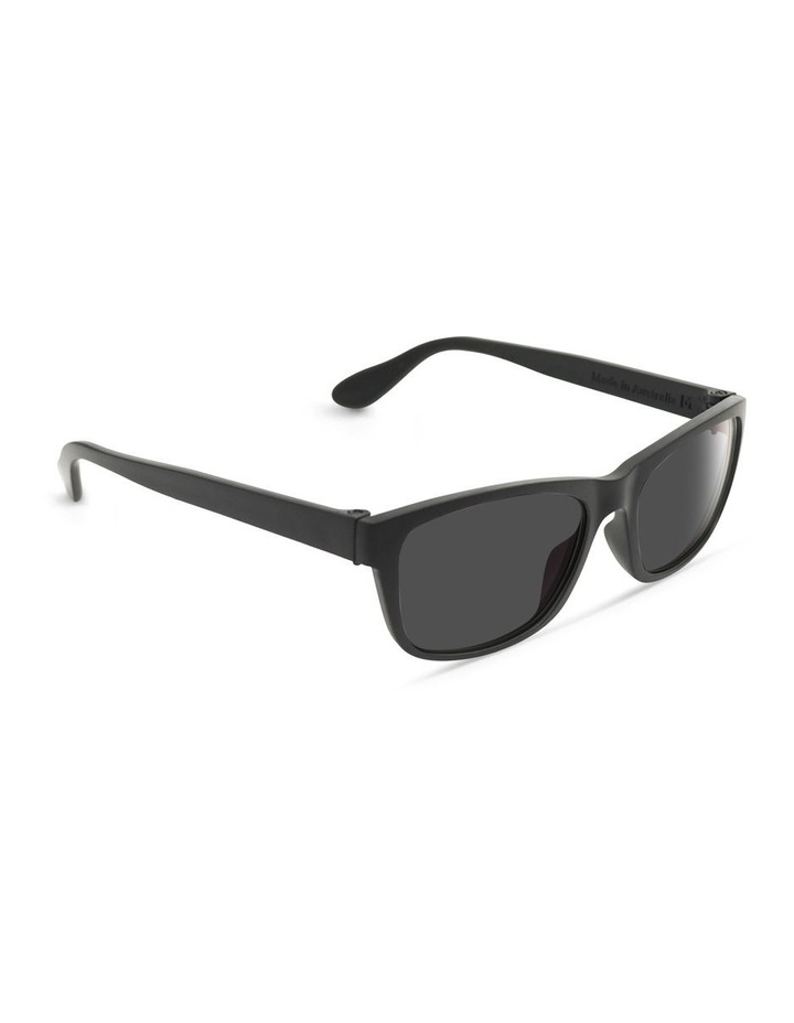 Recycled Black UV Protected Polarised with Grey Tint Rectangle Sunglasses image 2