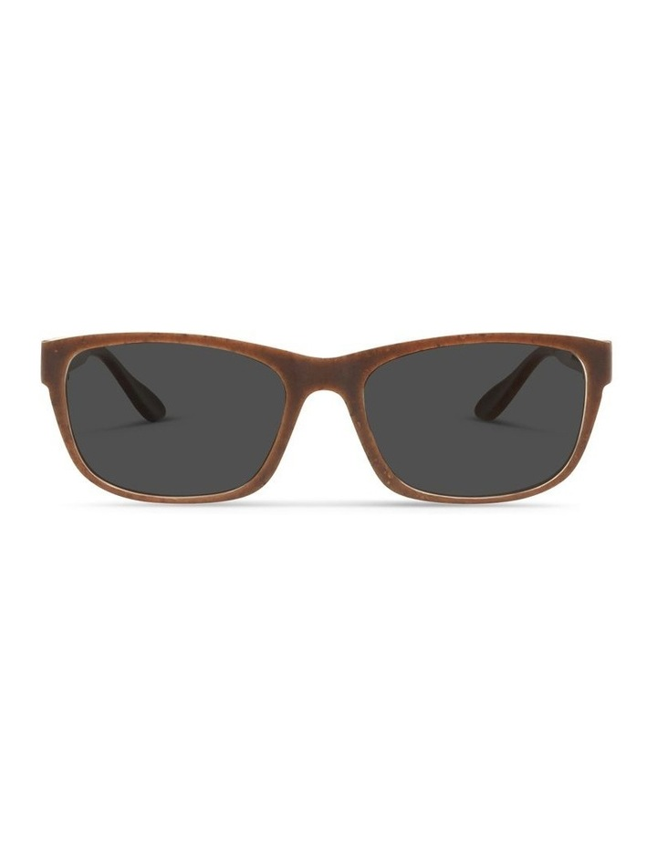 Recycled Brown UV Protected Polarised with Grey Tint Rectangle Sunglasses image 1