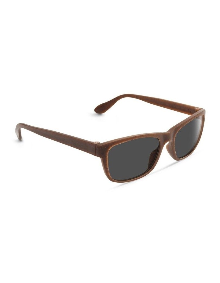 Recycled Brown UV Protected Polarised with Grey Tint Rectangle Sunglasses image 2