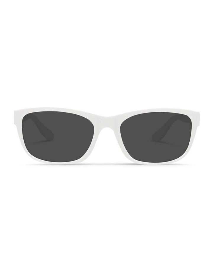 White UV Protected Polarised with Grey Tint Rectangle Sunglasses image 1