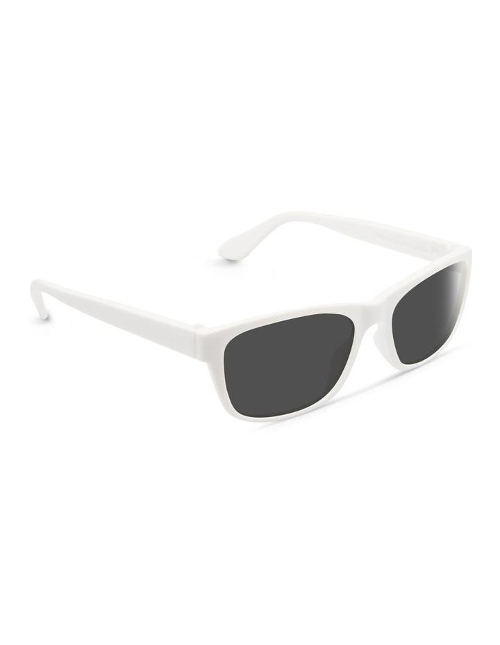 White UV Protected Polarised with Grey Tint Rectangle Sunglasses image 2