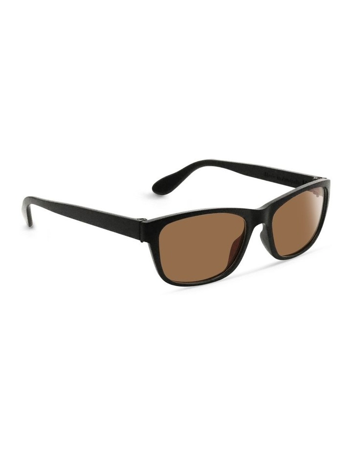Black UV Protected Polarised with Brown Tint Rectangle Sunglasses image 2