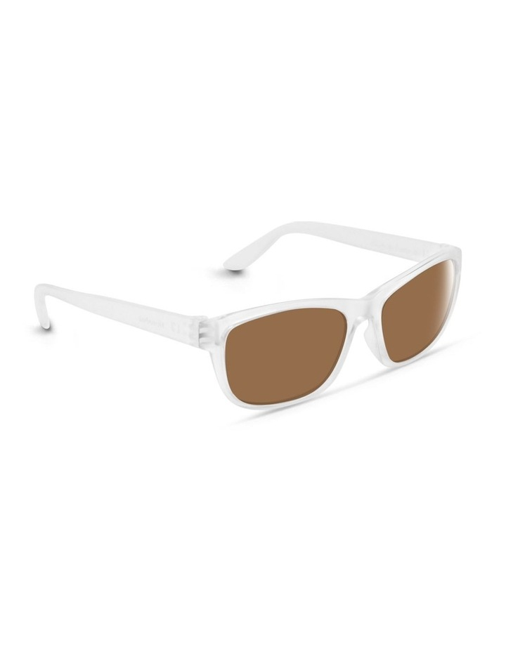 Clear Frost UV Protected Polarised with Brown Tint Rectangle Sunglasses image 2