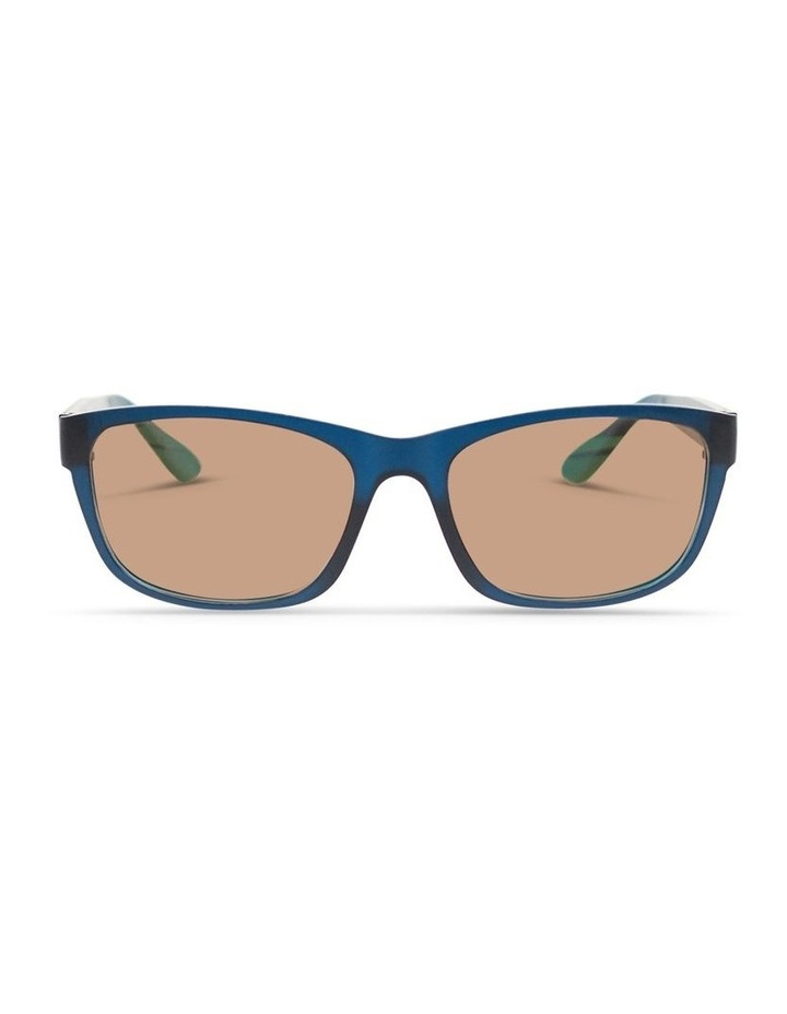 Midnight Blue UV Protected Polarised with Brown Tint Rectangle Sunglasses image 1
