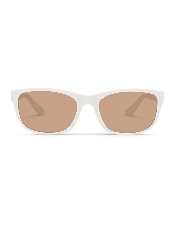 White UV Protected Polarised with Brown Tint Rectangle Sunglasses image 1