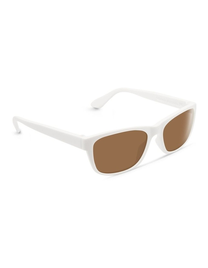 White UV Protected Polarised with Brown Tint Rectangle Sunglasses image 2