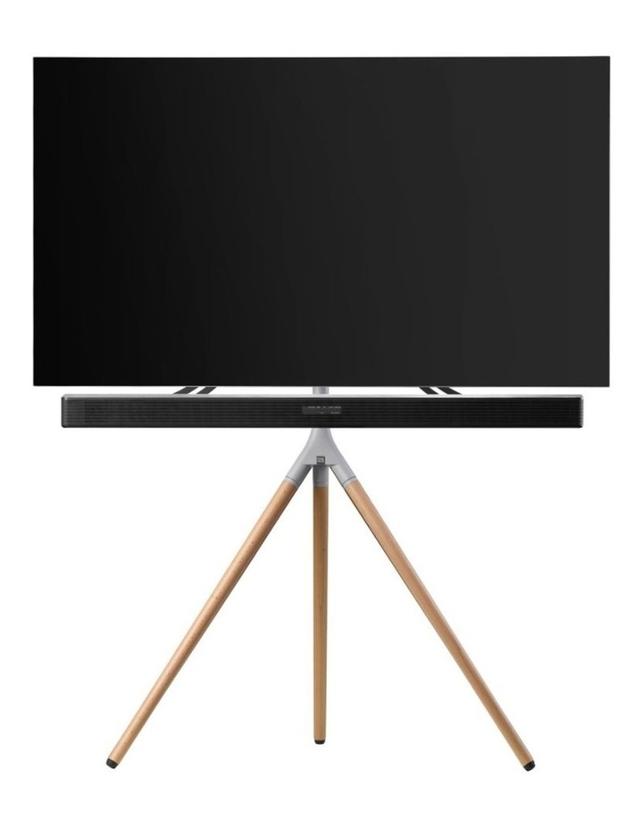 OneForAll Tripod Universal TV Stand - Oak/Silver image 1