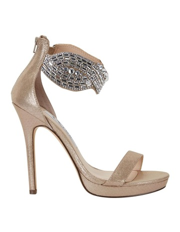 f72cb3d26532 NINA Fayth Taupe Reflective Suede Sandal