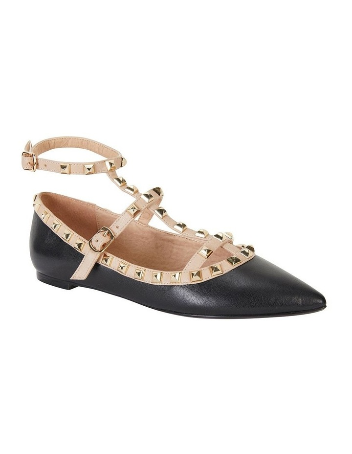 Inez Black Kid/Nude Flat Shoes image 2