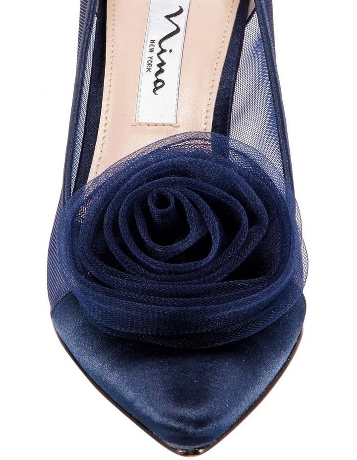 Bettey New Navy Satin Heeled Shoes image 3