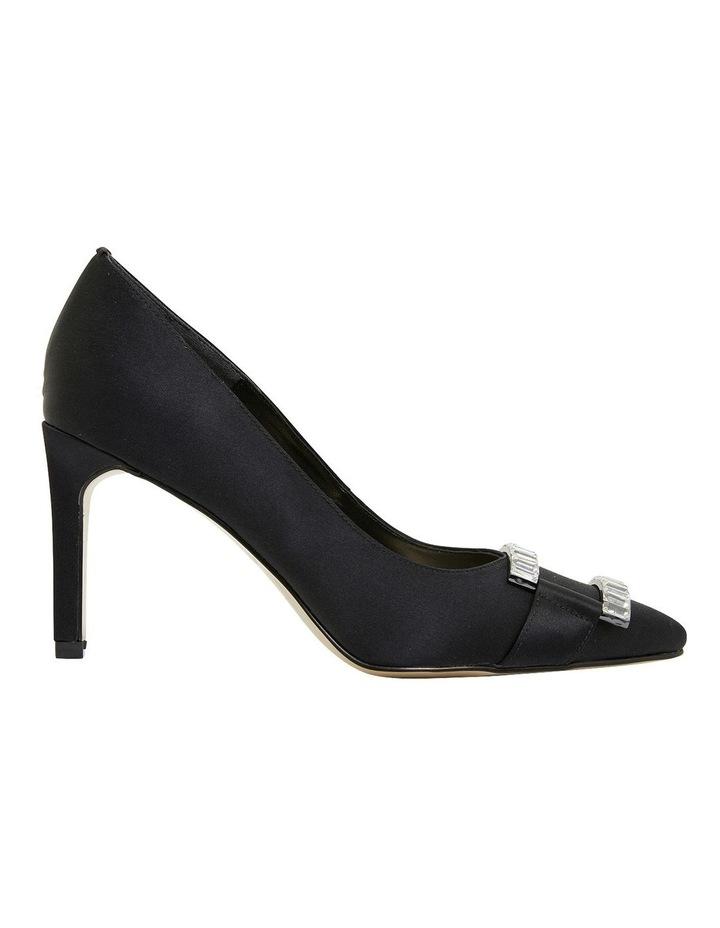 Ruby Black Satin Heeled Shoes image 1