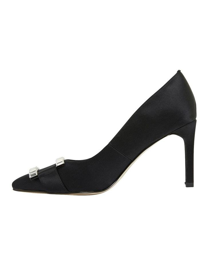 Ruby Black Satin Heeled Shoes image 3