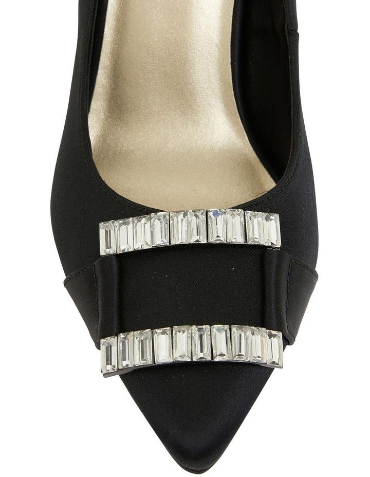 Ruby Black Satin Heeled Shoes image 4