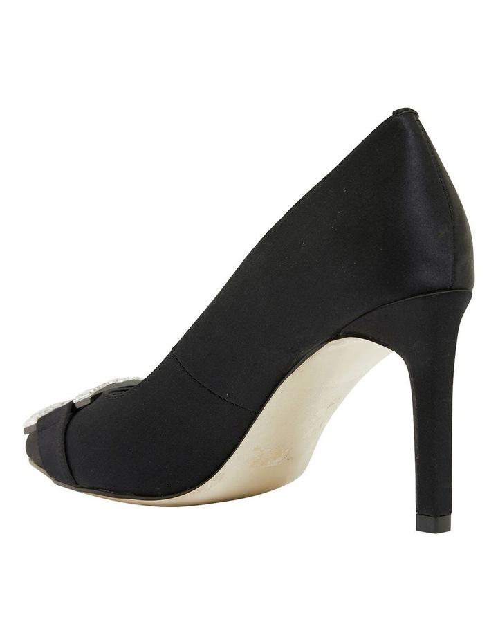 Ruby Black Satin Heeled Shoes image 5