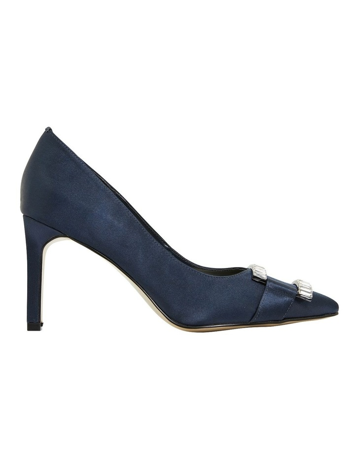 Ruby Navy Satin Heeled Shoes image 1