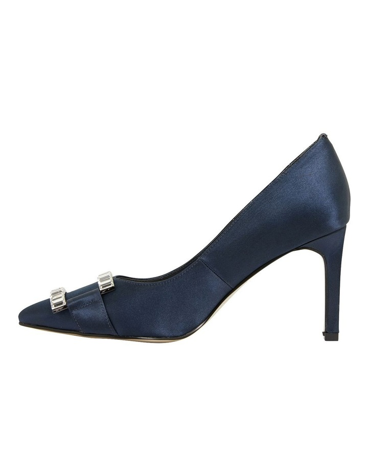 Ruby Navy Satin Heeled Shoes image 3