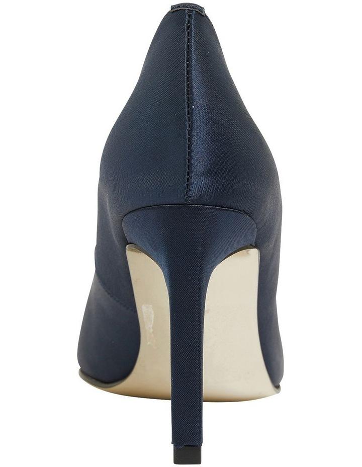 Ruby Navy Satin Heeled Shoes image 4