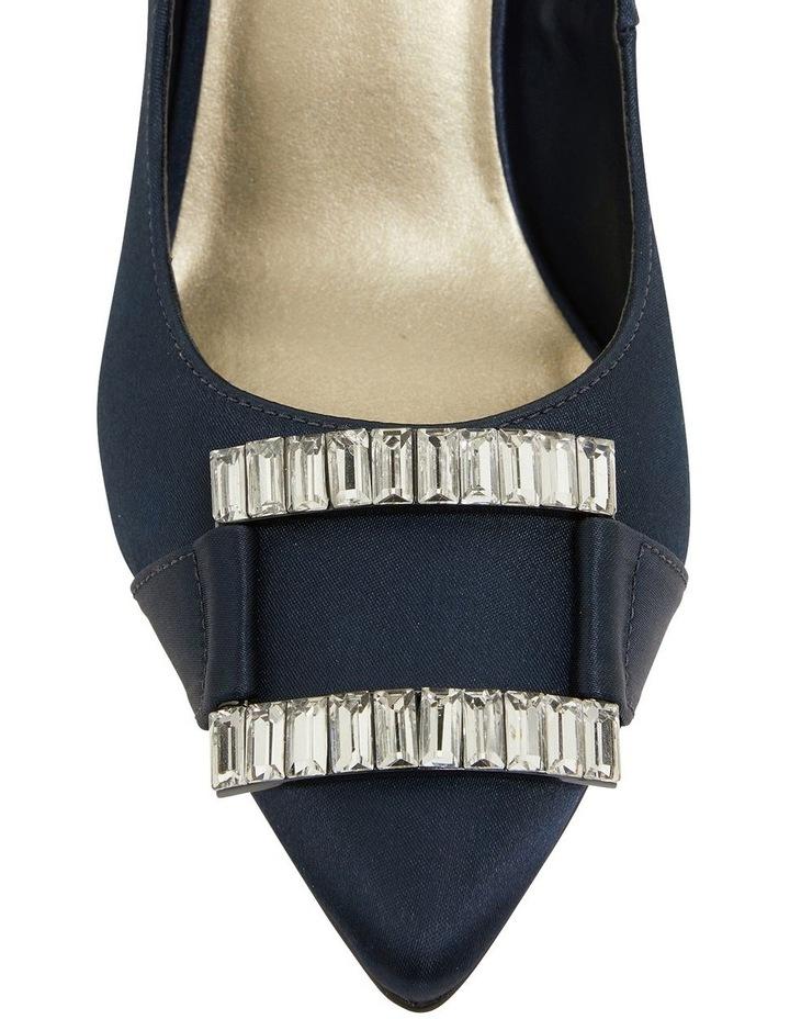 Ruby Navy Satin Heeled Shoes image 5