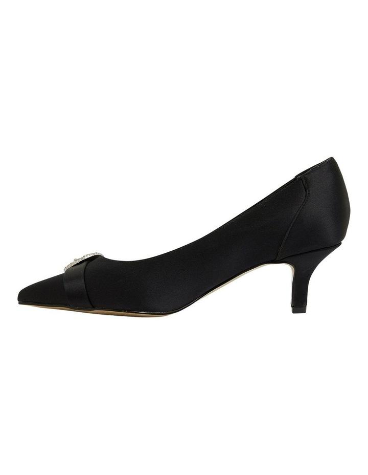 Tina Black Satin Heeled Shoes image 3