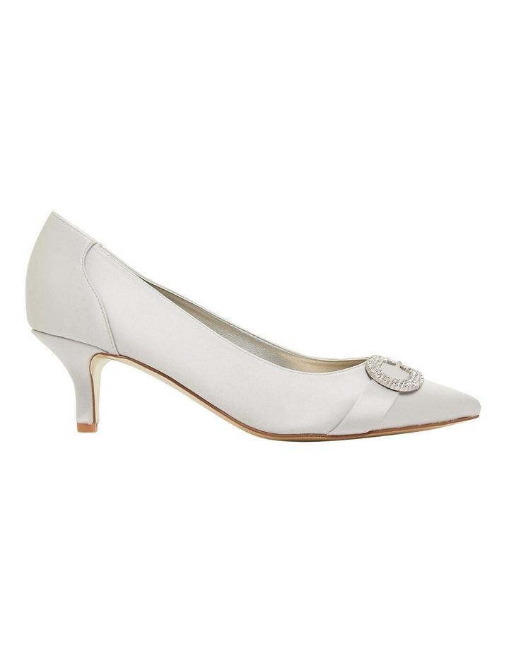 Tina Silver Satin Heeled Shoes image 1