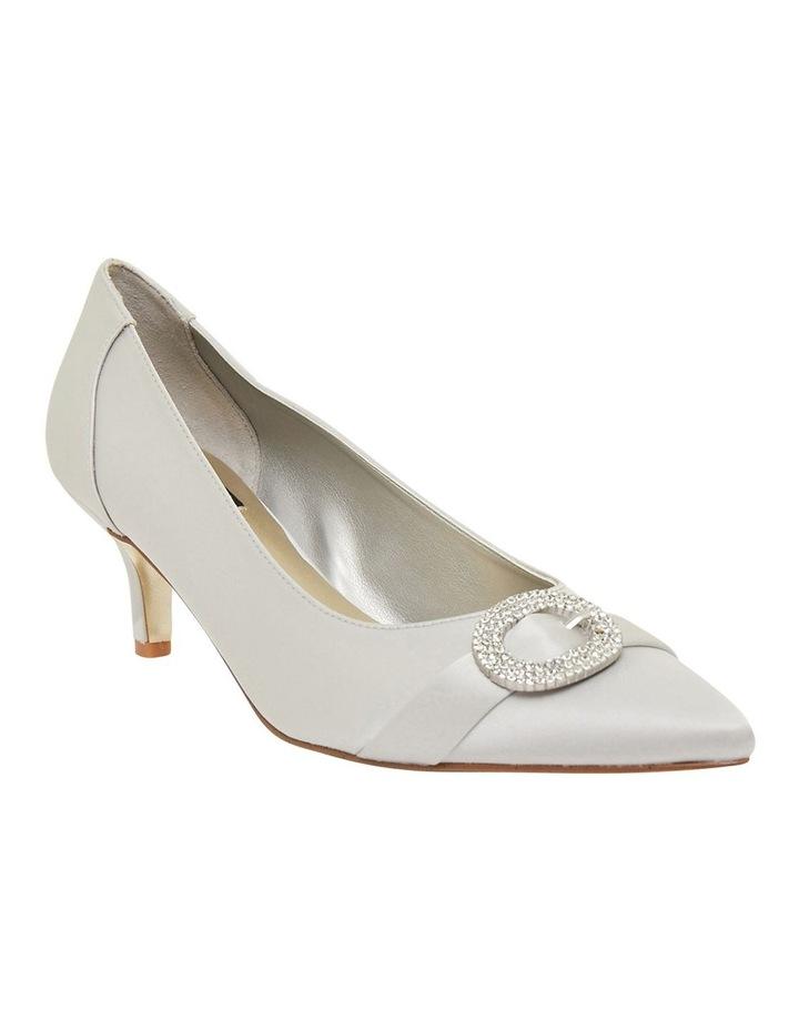 Tina Silver Satin Heeled Shoes image 2