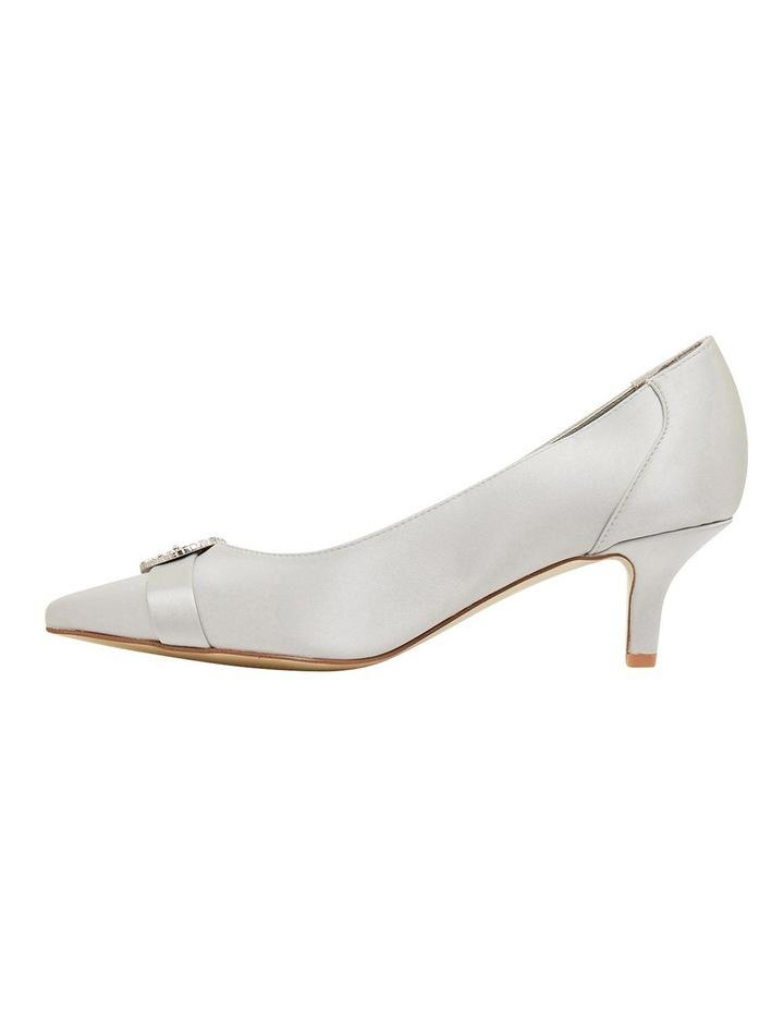 Tina Silver Satin Heeled Shoes image 3