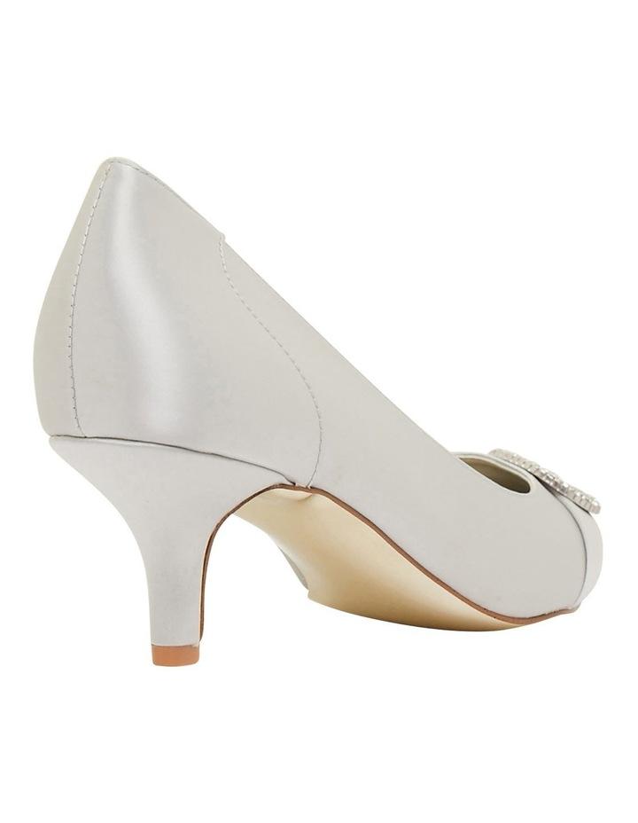 Tina Silver Satin Heeled Shoes image 4