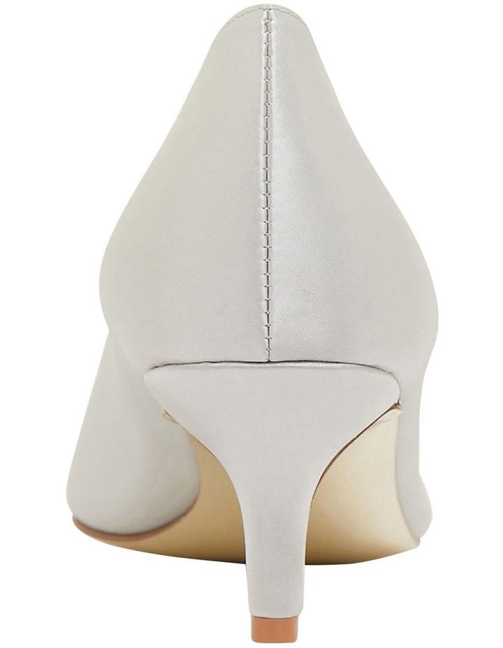 Tina Silver Satin Heeled Shoes image 5
