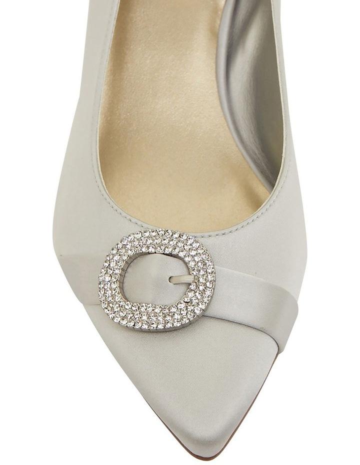 Tina Silver Satin Heeled Shoes image 6