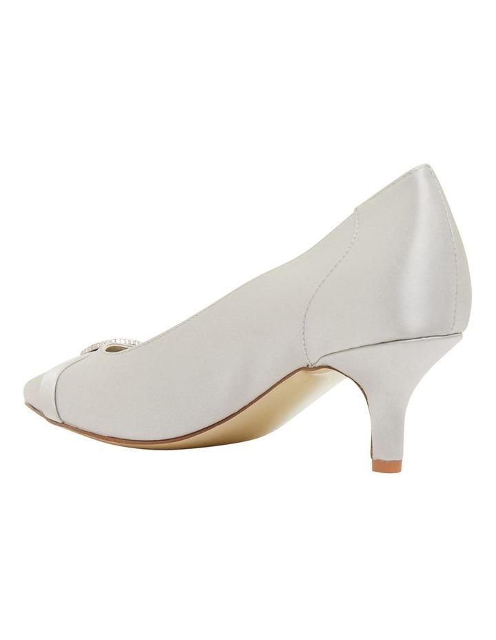 Tina Silver Satin Heeled Shoes image 7