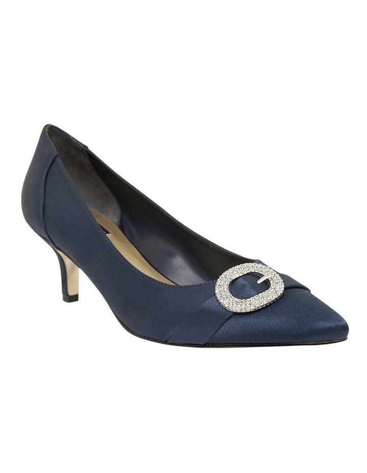 Tina Bright Navy Satin Heeled Shoes image 2