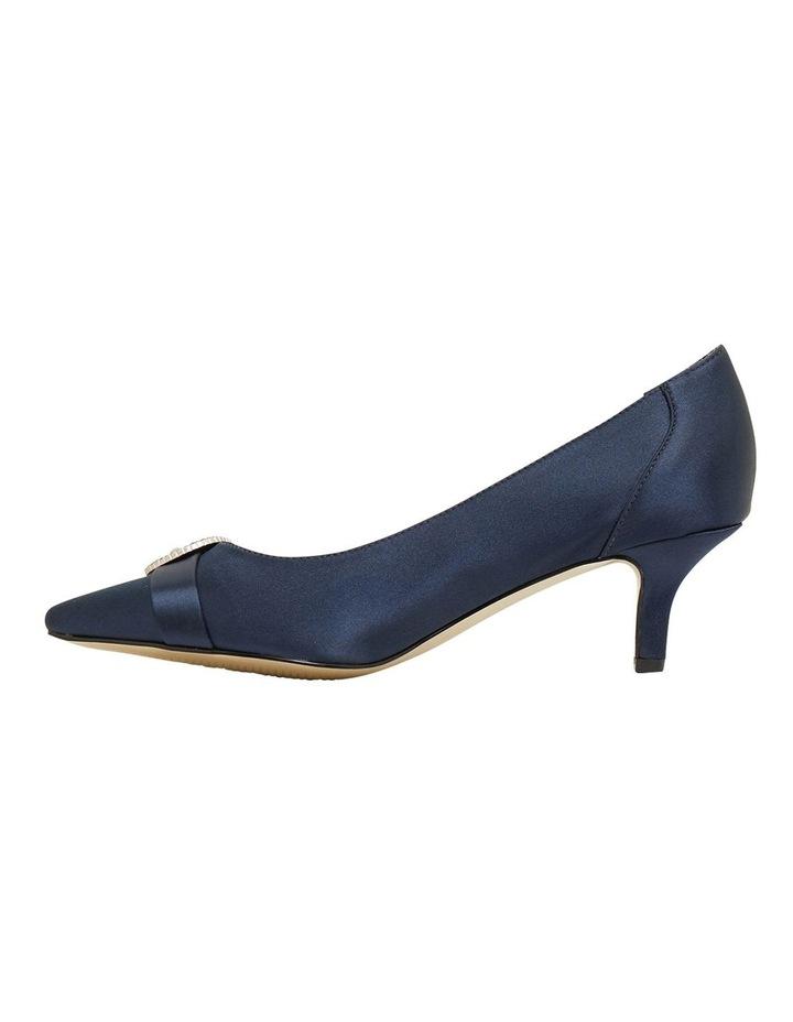 Tina Bright Navy Satin Heeled Shoes image 3