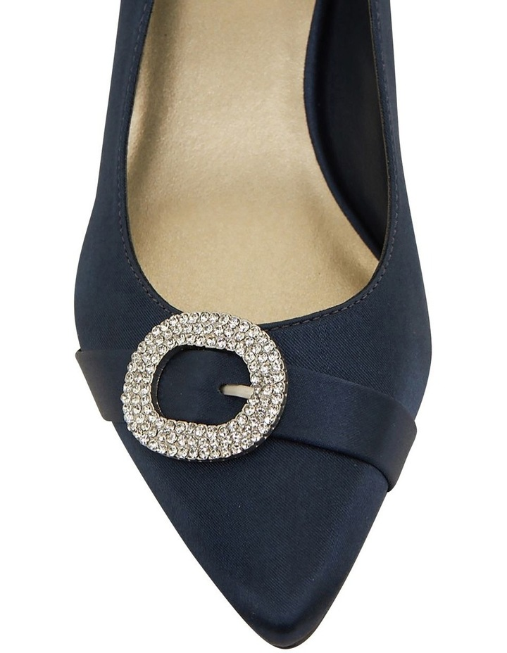 Tina Bright Navy Satin Heeled Shoes image 6