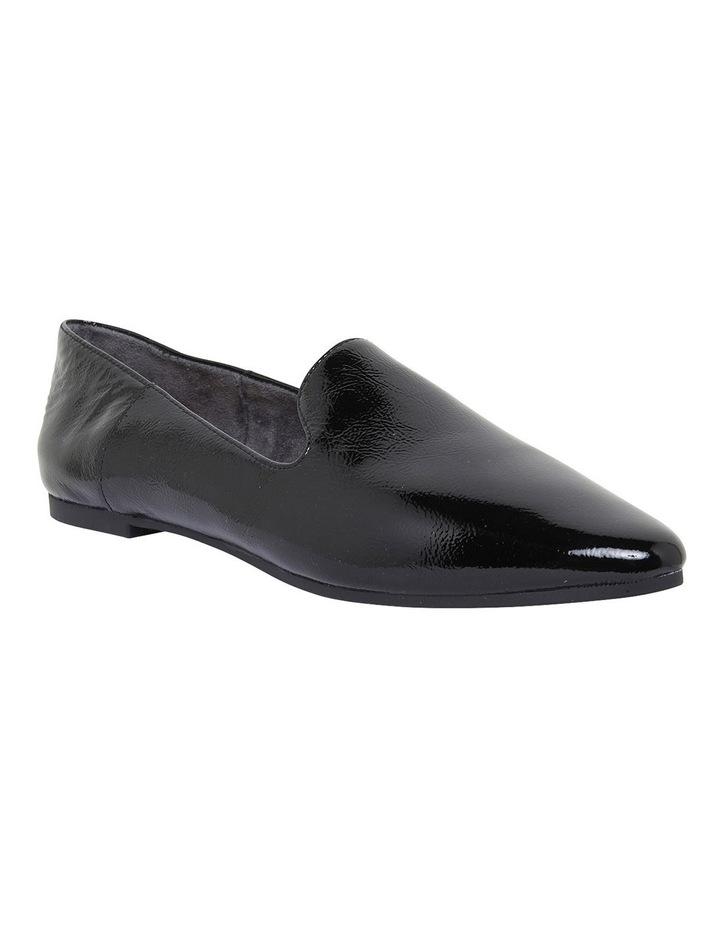 Liana Black Crinkle Patent Flat Shoes image 2