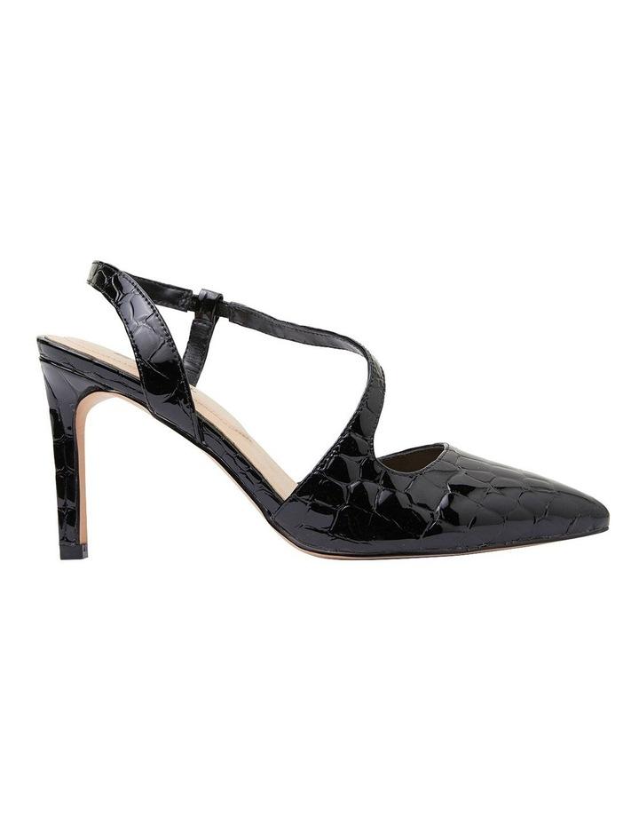 Odessa Black Patent Croc Heeled Shoes image 1